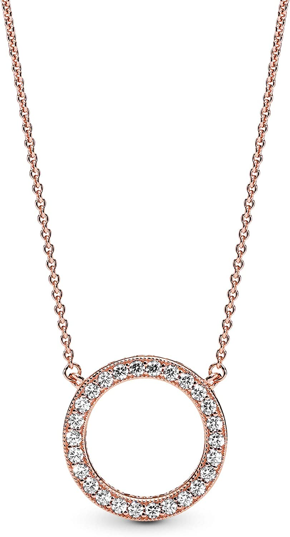 Pandora Jewelry Circle of Sparkle Cubic Zirconia Necklace in Pandora Rose,  17.7