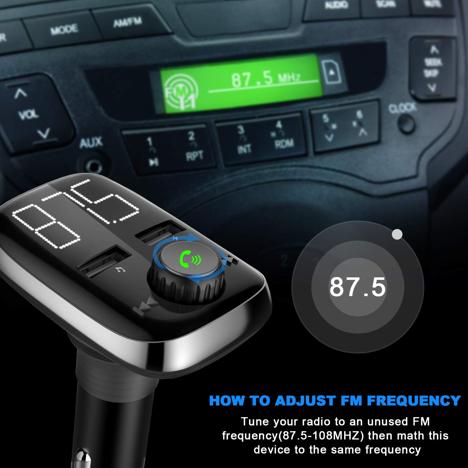 Music Player Support TF Card USB Flash Drive Wireless Bluetooth FM Radio Adapter Car Kit with Hands-Free Calling and Dual USB Charging Ports DYOTTON Bluetooth FM Transmitter for Car