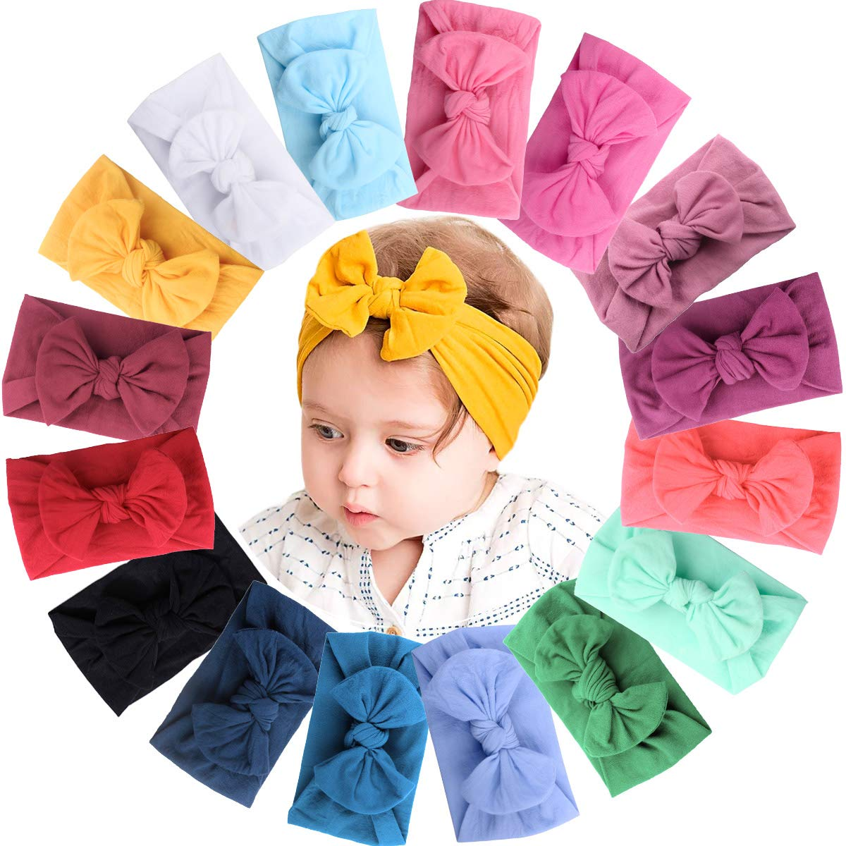 16 Colors Soft Wide Turban Baby Headbands with 4.5 inches Hair Bow Headwraps for Baby Girls Infants Newborn Hair Accessories Toddlers Kids and Children