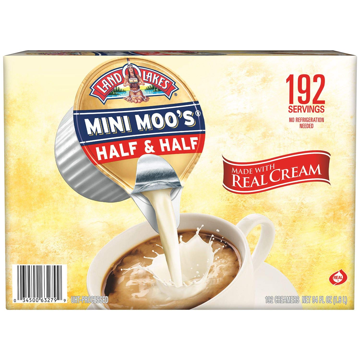 Land O Lakes Mini Moo's Real Cream Half & Half, 9 mL Cups, 192 Count (Pack of 4)