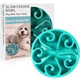 Siensync Slow Feeder Dog Bowl, Non Slip Puzzle Bowl Fun Feeder Interactive Bloat Stop Dog Bowl, Eco-Friendly Non Toxic Bamboo Fiber Slow Feed Dog Bowl for Large Medium Small Dogs