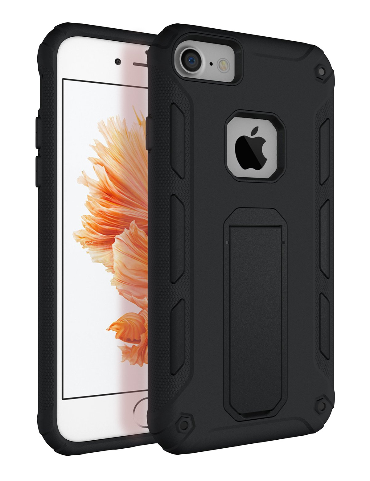 iPhone 7 Case, iPhone 8 Case with Kickstand, Tobomoco Hard PC and Soft TPU Bumper Slim Shockproof Drop Protection 2 in 1 Protective Phone Case Cover for Apple iPhone 7/8 [4.7 inch], Black
