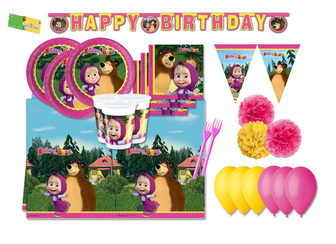 DECORATA PARTY Kit N 64 ADDOBBI Festa Compleanno Masha E Orso