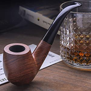 Free Boy Tobacco Pipe Handmade Wooden Bent Smoking Pipe with Accessories