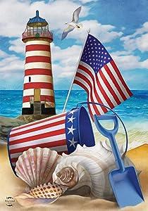 Briarwood Lane Sea to Shining Sea Patriotic House Flag Summer Lighthouse 28