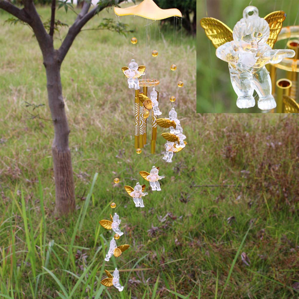 Wind Chimes Cupid Angel Wind Chimes Vintage Hanging Wind Bell Ornament Creative Decor for Yard Garden Outdoors Home Gold 1Set