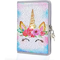 Play Tailor Unicorn Diary with Lock and Key Flip Sequin Locking Journal Notebook with Two Keys