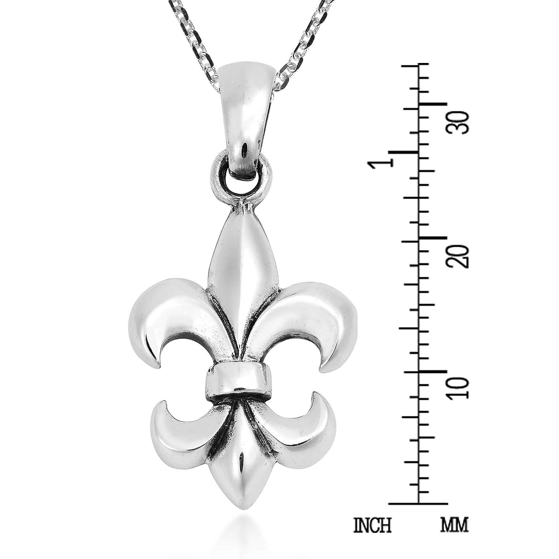 Elegant Open Fleur-de-Lis in Heart Sterling Silver Pendant