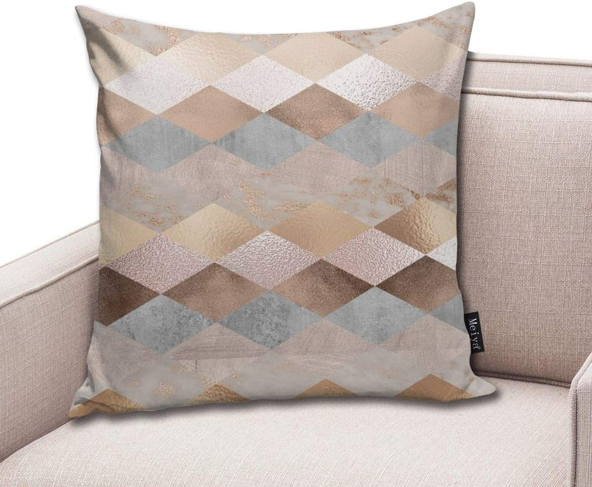 Copper and Blush Rose Gold Marble Argyle Pillowcase Home Life Cotton Cushion Case 18 x 18 inches