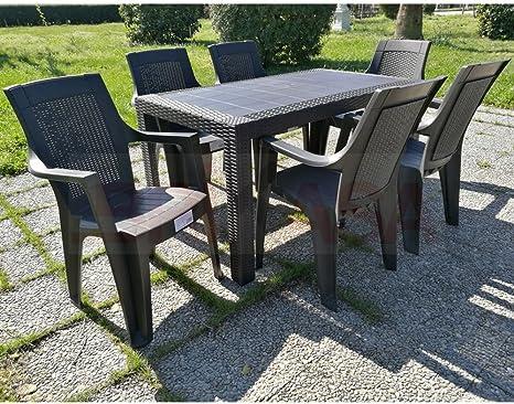 Set Tavolo E 6 Sedie Da Giardino Olimpo Marrone Amazon It Giardino E Giardinaggio