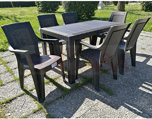 Tavoli E Sedie In Plastica Da Giardino.Dimaplast Set Tavolo E 6 Sedie Da Giardino Olimpo Tortora Amazon