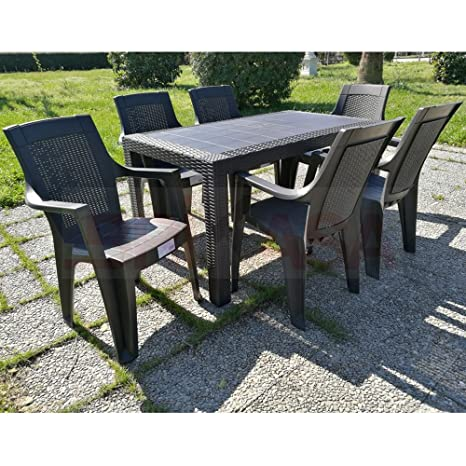 Sedie E Tavoli Da Giardino In Plastica.Set Tavolo E 6 Sedie Da Giardino Olimpo Marrone Amazon It Giardino