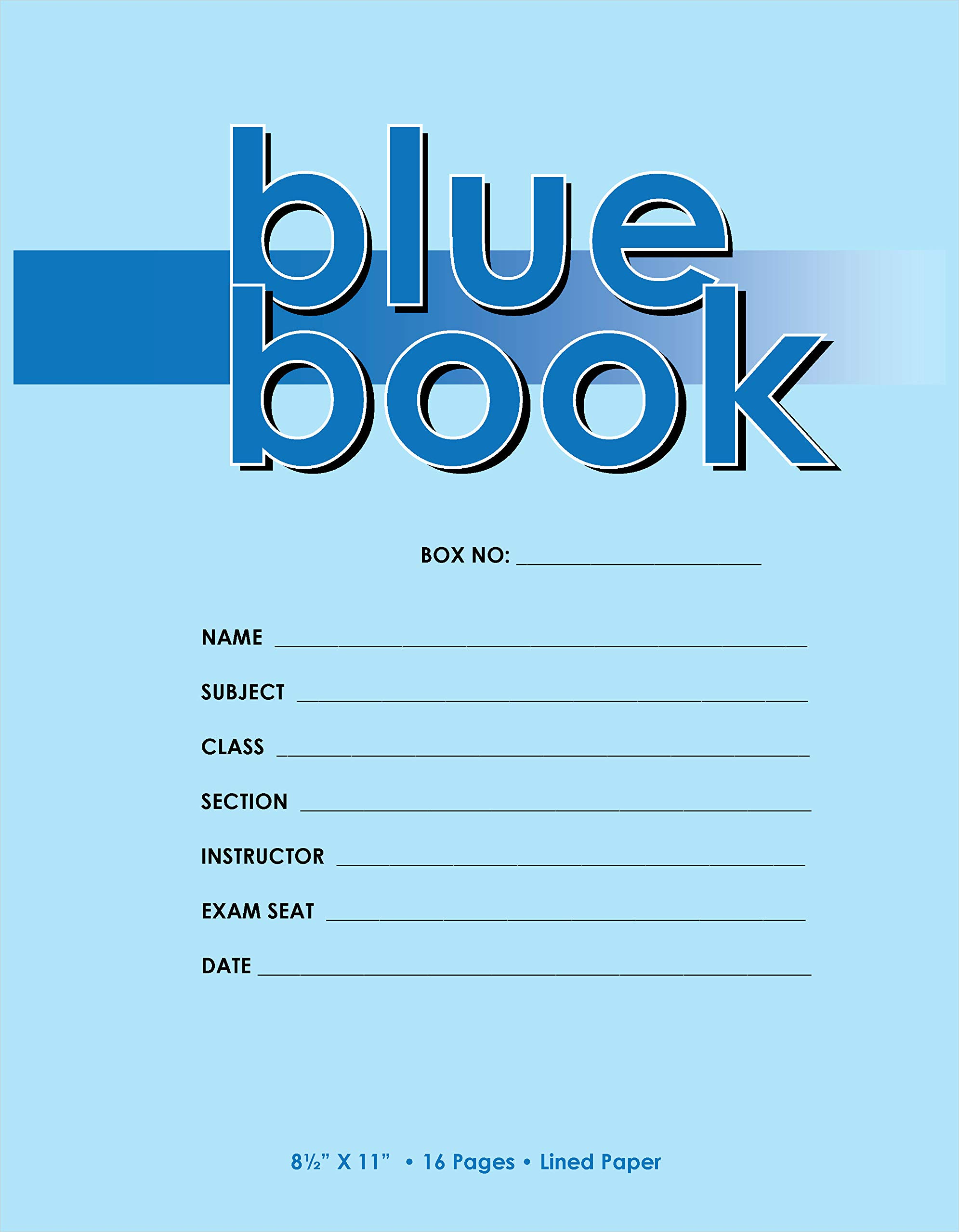 Buybazinga Exam Book 8.5 x 11 Inches 6 Sheets/12 Pages College Ruled Pack of 50 Books (11'' x 8.5'', Blue 6 sheets/12 pages, Pack of 100 Books) by Buybazinga