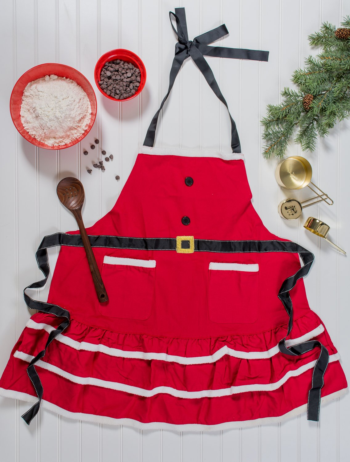 DII Cotton Chistmas Kitchen Apron with Pocket and Extra Long Ties, 29.5 x 24, Cute Women Ruffle Apron for Holidays, Hostee and Housewarming Gift-Mrs. Claus by DII (Image #5)