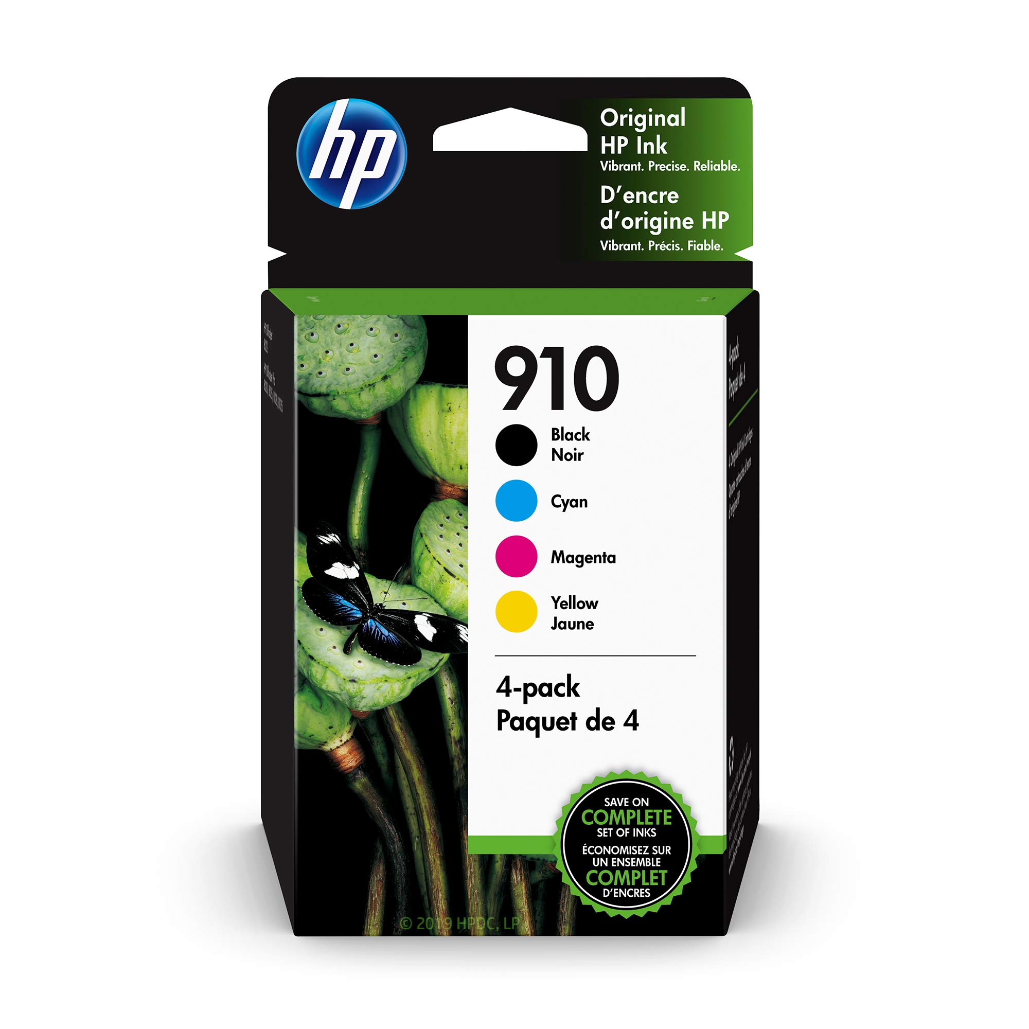 HP 910 | 4 Ink Cartridges | Black, Cyan, Magenta, Yellow | 3YL61AN, 3YL58AN, 3YL59AN, 3YL60AN by HP