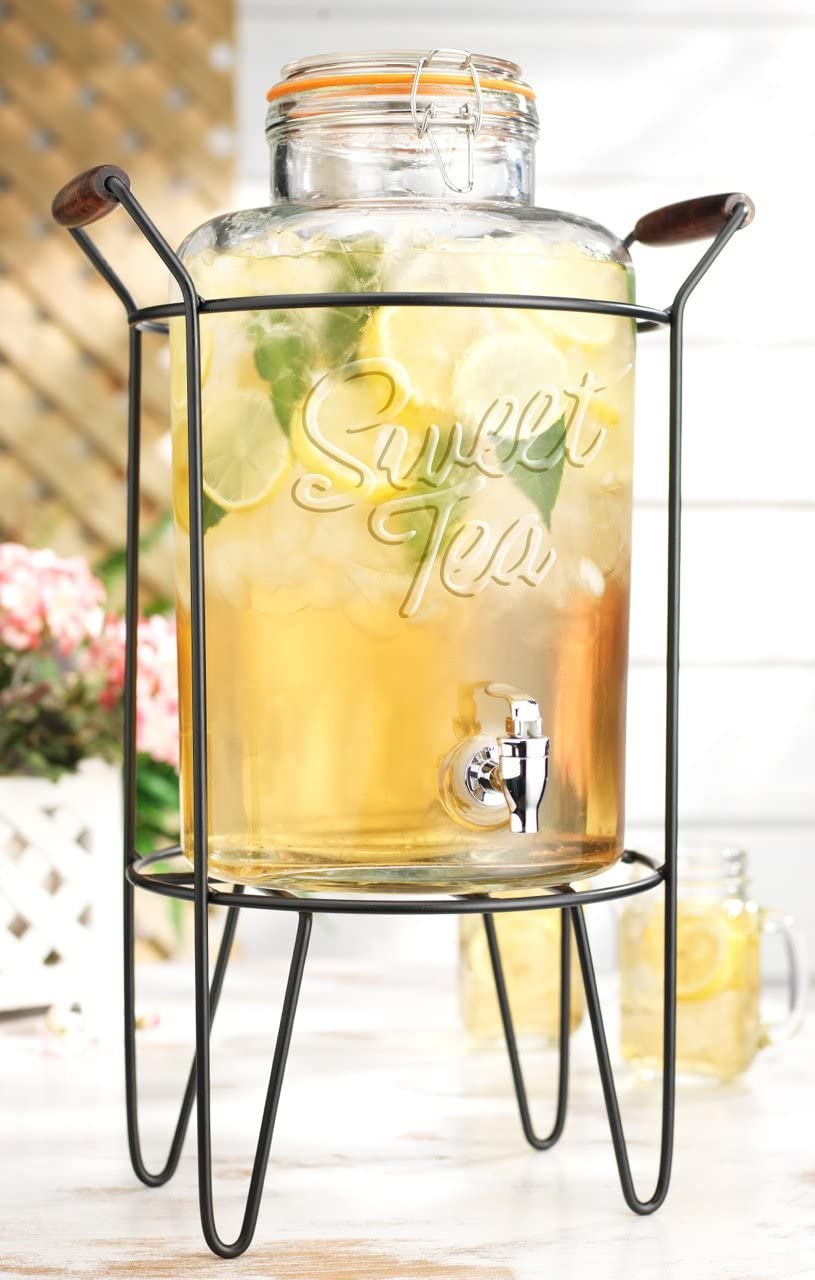 American Reproductions 2 Gallon Clear Glass Ice Cold Beverage Dispenser With Locking Clamp Bail & Trigger Spigot in Metal Caddy with Handle. (Sweet Tea)- Great For Outdoors, Parties, & Laundry