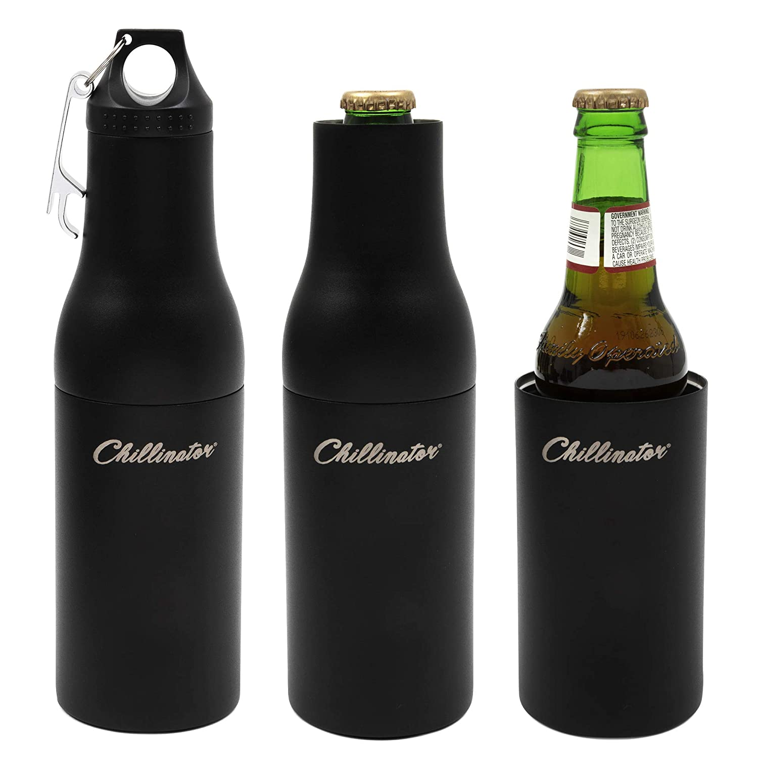 Beer Bottle Insulator Stainless Steel Black Double Wall Coolers with Carry Pouch Coozie for Standard Bottles Sleeve Opener -Drinking Accessories Insulated Holder for Long-Neck Beers