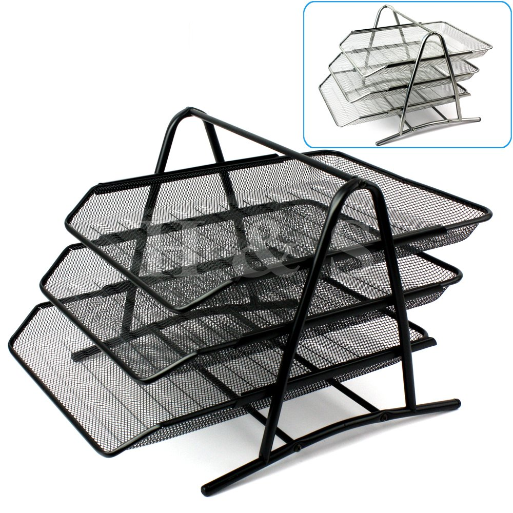 Captivating Hu0026S® Wire Mesh Office A4 Document Letter Paper Organiser Storage Filing  Trays Holder (Black): Amazon.co.uk: Kitchen U0026 Home