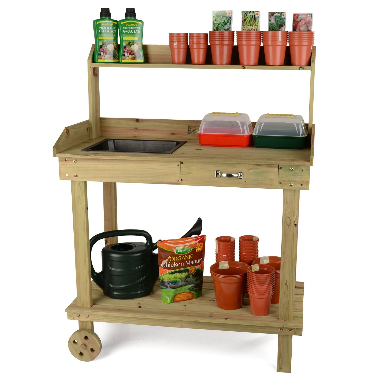 Potting Table Part - 15: Wooden Potting Table Plant Flower Greenhouse Bench With Wheels By Christow:  Amazon.co.uk: Garden U0026 Outdoors