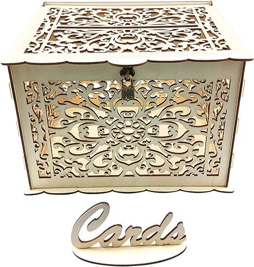 JUSTDOLIFE Caja de Tarjeta de Boda Caja de Gota de Boda de Madera ...