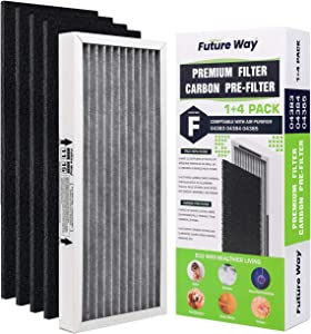Future Way Odor-Reducing True HEPA Filter Compatible with Hamilton Beach TrueAir 04383, 04384, 04386, Carbon Interlayer Filter with 4 x Pre-Filter Combo Set