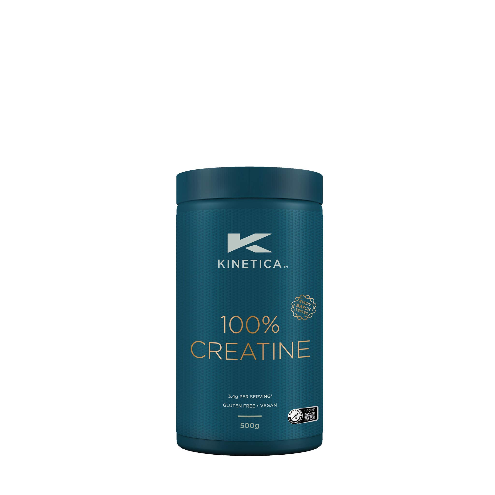 Kinetica 100% Creatine Monohydrate Powder, 147 Servings, 500g, Gluten Free, Suitable for Vegetarians, Unflavoured