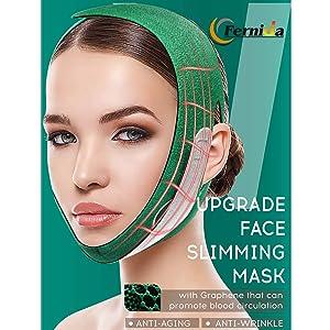 Facial Slimming Strap, FERNIDA Double Chin Lifting Belt Graphene V Line Face Lift Up Band, Anti Wrinkle Eliminates Sagging Anti Aging Face Shaper Band