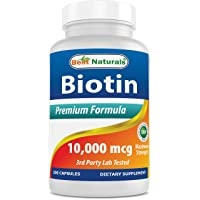 Best Naturals Maximum Potency Biotin 10,000 Mcg for Healthier and Longer Hair Growth...