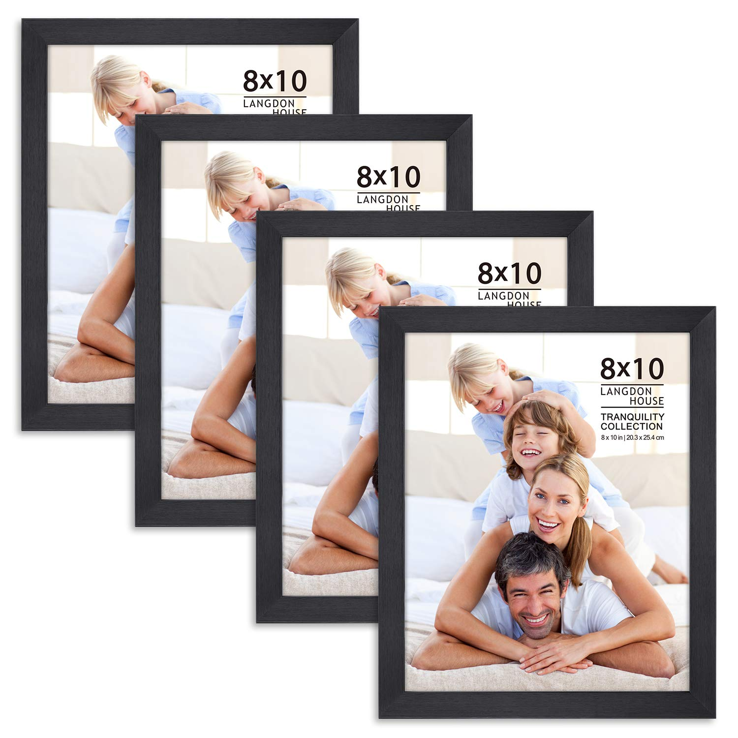 Langdons 8x10 Picture Frame Set (4 Pack, Black), Fabulous Black 8x10 Frames, Swivel Tabs, Tabletop Easel and Wall Hang Hardware Included, Tranquility Collection
