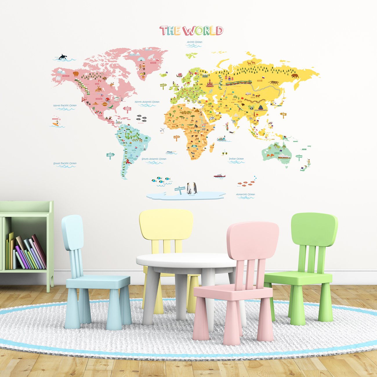Nursery wall stickers amazon decowall dlt 1616n colourful world map kids wall stickers wall decals peel and stick removable amipublicfo Choice Image