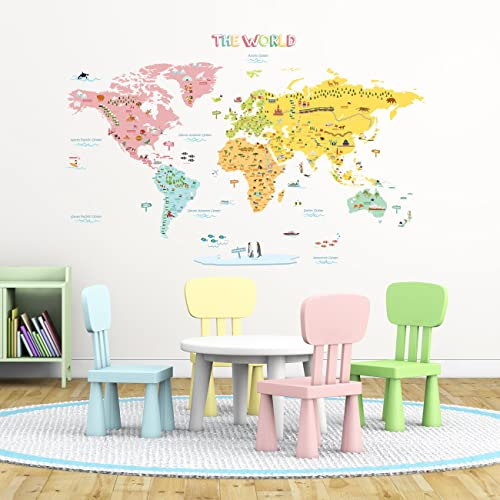 Zooarts animals world map vinyl mural wall sticker decals for kids decowall dlt 1616n colourful world map kids wall stickers wall decals peel and stick removable gumiabroncs Images