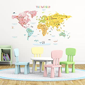 Decowall dlt 1616n colourful world map kids wall stickers wall decowall dlt 1616n colourful world map kids wall stickers wall decals peel and stick removable gumiabroncs Choice Image