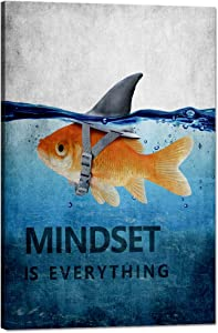Yatsen Bridge Modern Mindset is Everything Inspirational Posters Goldfish Canvas Entrepreneur Motivational Office Quotes Wall Decor Inspirational Artwork for Home Office Gym Decor - 24''Wx36''H