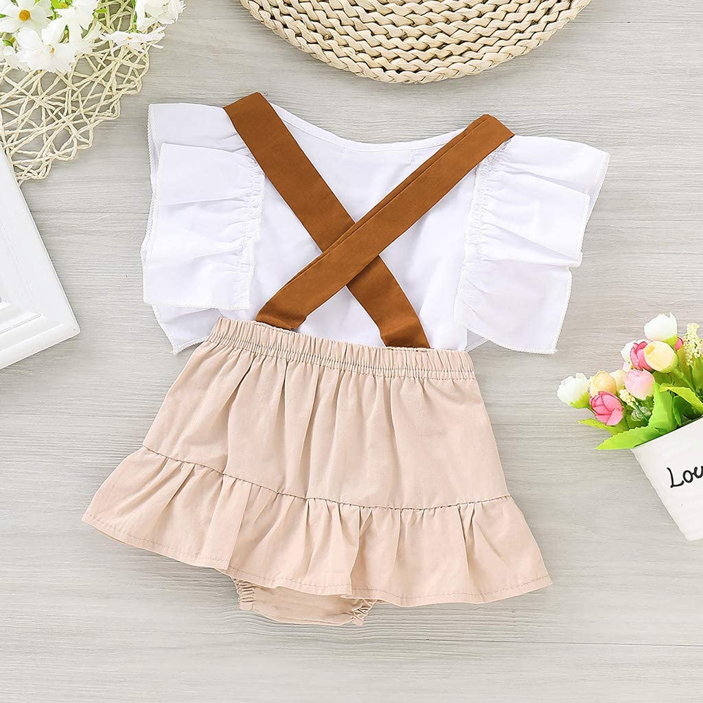 Little Kids Toddler Newborn Baby Girls Clothing Set Summer Ruffles Crop Tops and Suspenders Shorts 2Pcs Outfits