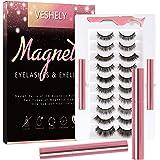 VESHELY Magnetic Eyelashes with Eyeliner Kit,3D Natural Magnetic Eyelashes Set with Applicator and 2 Waterproof Magnetic…