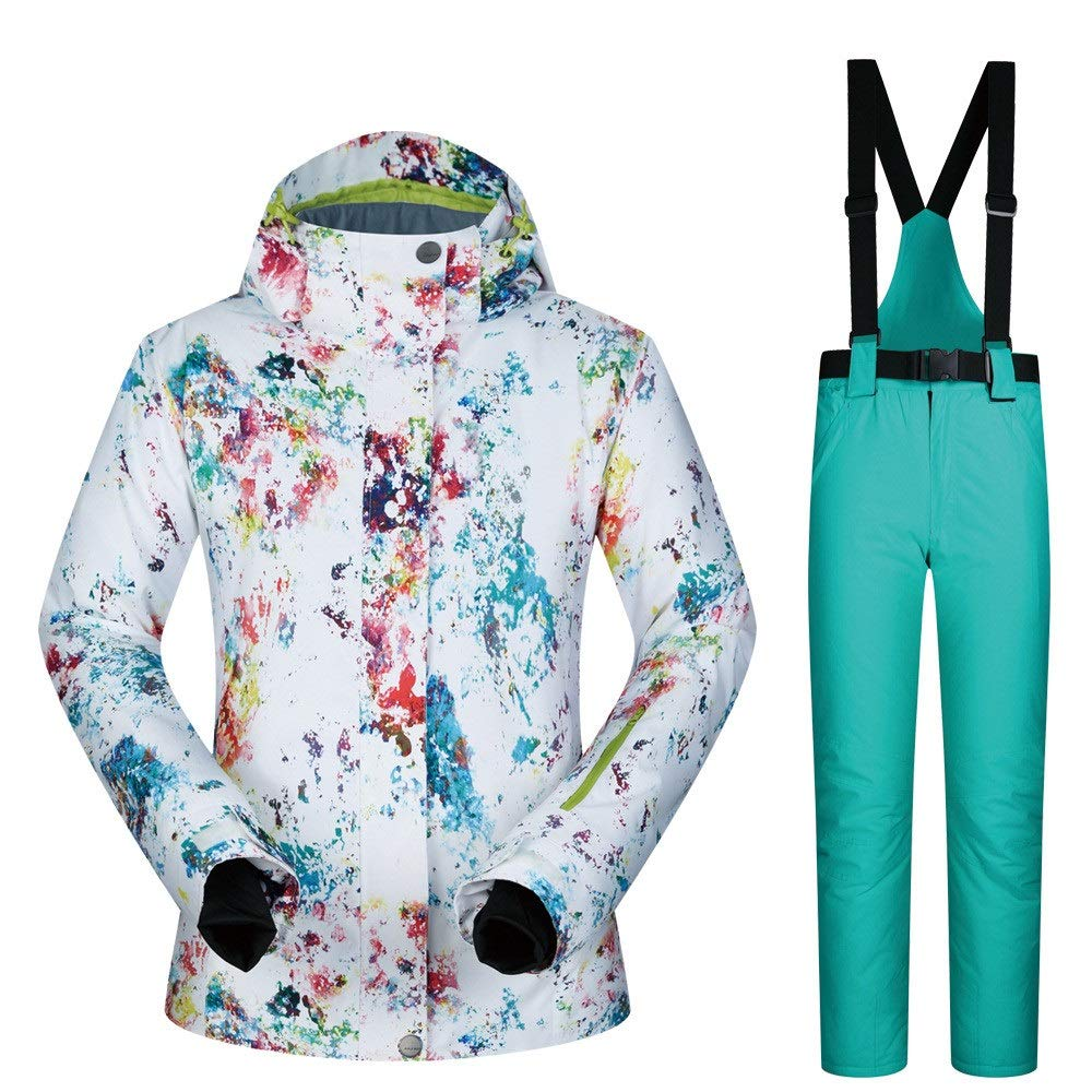 AUMING Skianzug Skijacke Frauen Bunter Druck Mit Kapuze Schnee Jacke Mantel Ski Jacke Verdickt Windproof Winter Suit (Farbe : Light Green Trousers, Größe : XL)