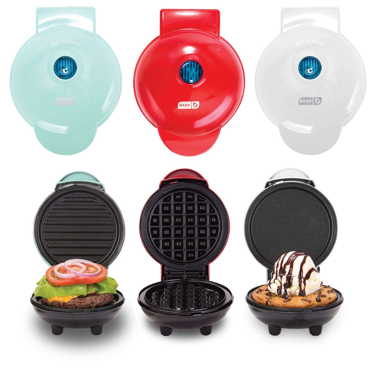 Dash Mini Maker Griddle, Waffle Maker and Grill Set (Assorted Colors) (Classic) by DASH