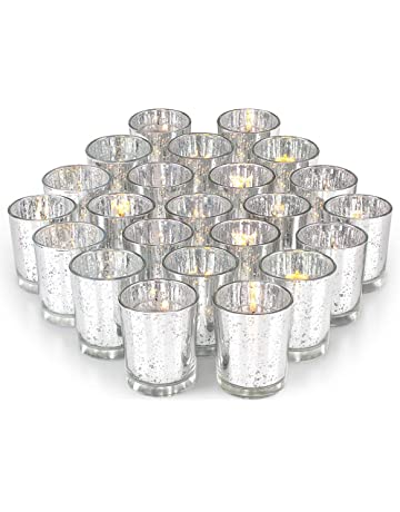 e60a1ab2fb Volens Gold Votive Candle Holders, Mercury Glass Tealight Candle Holder Set  of 72