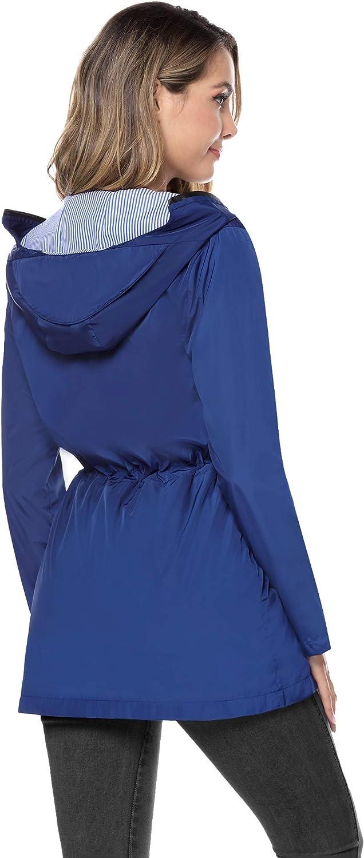 Aibrou Giacche Impermeabili Donna Antipioggia Giacca a Vento con Cappuccio Lunga Leggera Casual per Escursioni in Campeggio