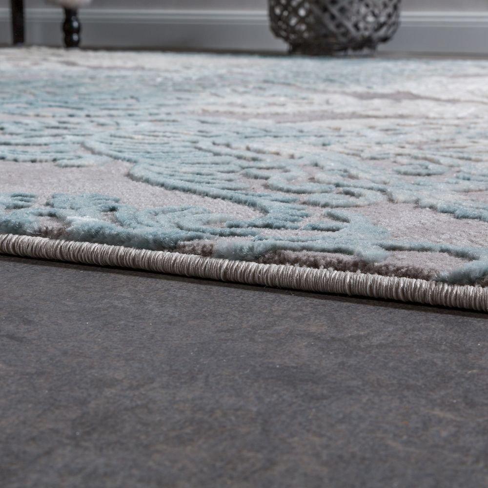 Paco Home Designer Wohnzimmerteppich Teppich Moderne Ornamente Muster Wohnzimmerteppich Designer Grau Blau, Grösse 160x230 cm 77b676