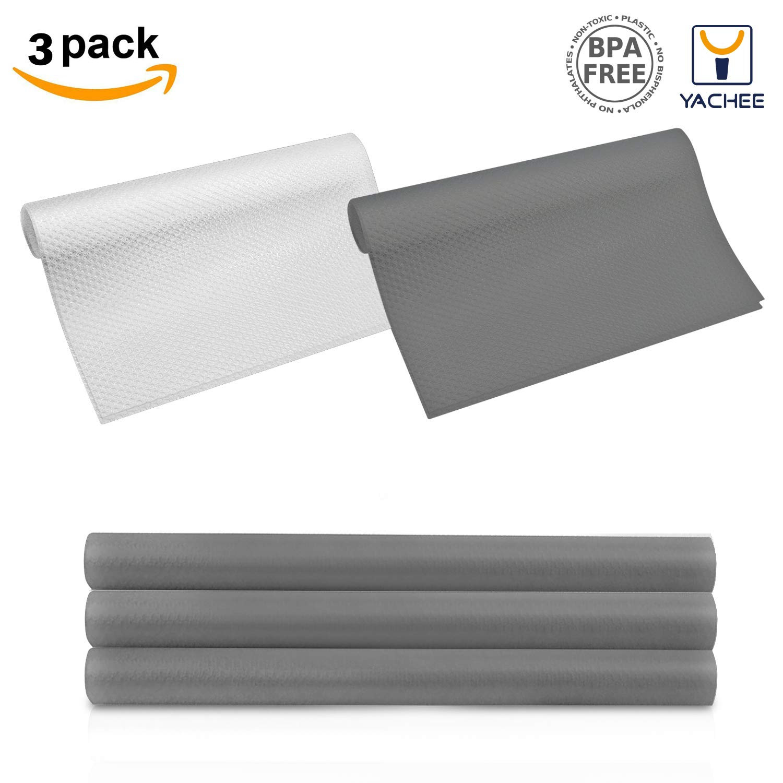 "Yachee 3 Rolls EVA cabinet liner, Anti-mildew Anti-bacterial Non-slip Shelf Liners for kitchen Cabinets, Waterproof Cupboard Drawer Cushion Mats, DIY Multipurpose Antifouling Pads,17.7""x59""-Light Grey"