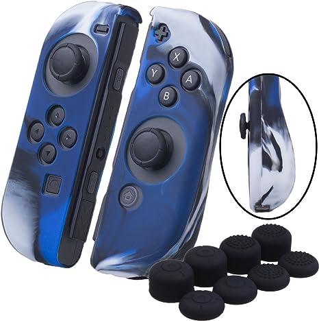 YoRHa Empuñadura silicona caso piel Fundas protectores cubierta para Nintendo Switch/NS/NX Joy-Con Mando x 2 (Camuflaje azul) Con Joy-Con los puños pulgar thumb gripsx 8: Amazon.es: Videojuegos