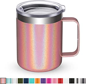 Civago Stainless Steel Coffee Mug Cup with Handle, 12 oz Double Wall Vacuum Insulated Tumbler with Lid Travel Friendly (Pink Shimmer, 1 Pack)