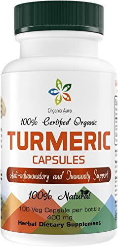 Organic Aura Turmeric Curcumin Capsules with 95 Curcuminoids. No Fillers or Binders. Veg Capsules. Natural Joint Healthy Inflammatory Support. Raw Herbal Dietary Supplement. Non-GMO, Gluten Free.