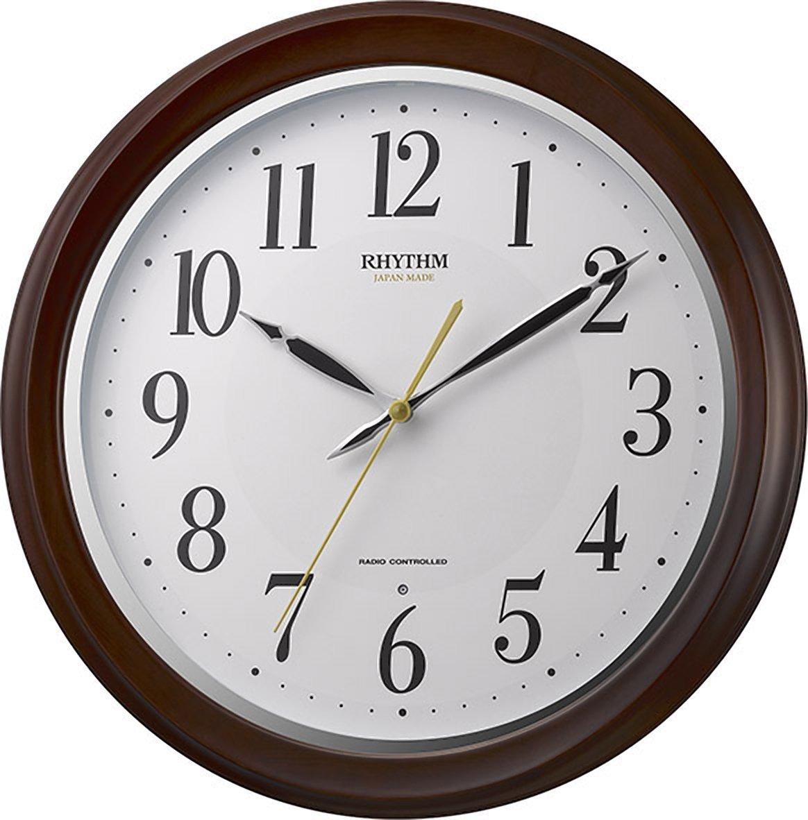 リズム時計 掛け時計 電波 アナログ フィットウェーブアヤ 【 日本製 】 連続秒針 木 茶 RHYTHM 8MY512SR06 B01N78H35H