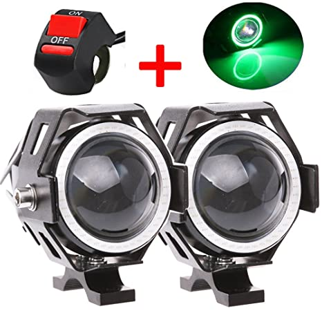 amazon com: motorcycle headlight cree u7 led fog lights spotlight daytime  running lights with green angel eyes halo ring and on/off toggle switch  125w