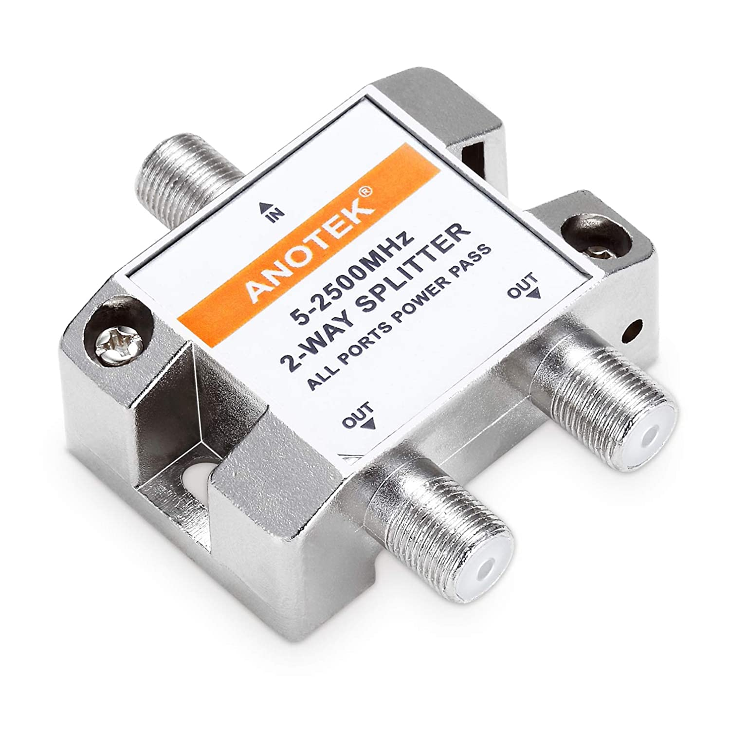 MoCA Configuration and More CATV Internet ANOTEK 2 Way Coaxial Cable Splitter for All Ports Power Pass Compatible with Antenna