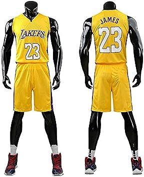 Lebron James #23 Camiseta de Baloncesto para Hombres - NBA Lakers, para niños Adultos y Adolescentes Top sin Mangas + Shorts (Amarillo,XL/Altura niño 150-160CM): Amazon.es: Deportes y aire libre