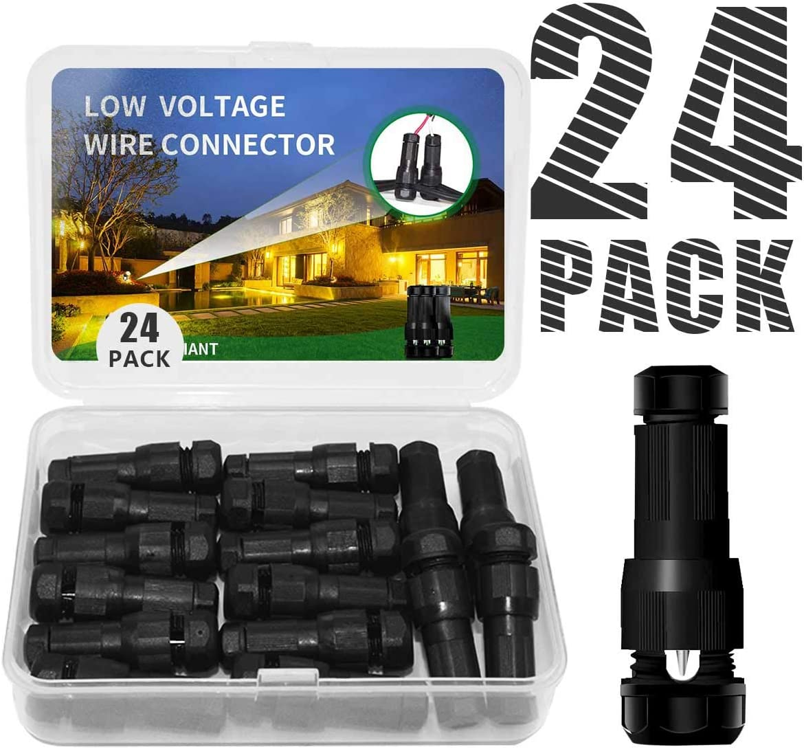Hypergiant Fastlock Twist Low Voltage Wire Connector 24 Pack,landscape lighting connector For 12 14 16 Gauge Cable,outdoor lights connector for Garden Path Yard Lights Work for Malibu Paradise Moonray