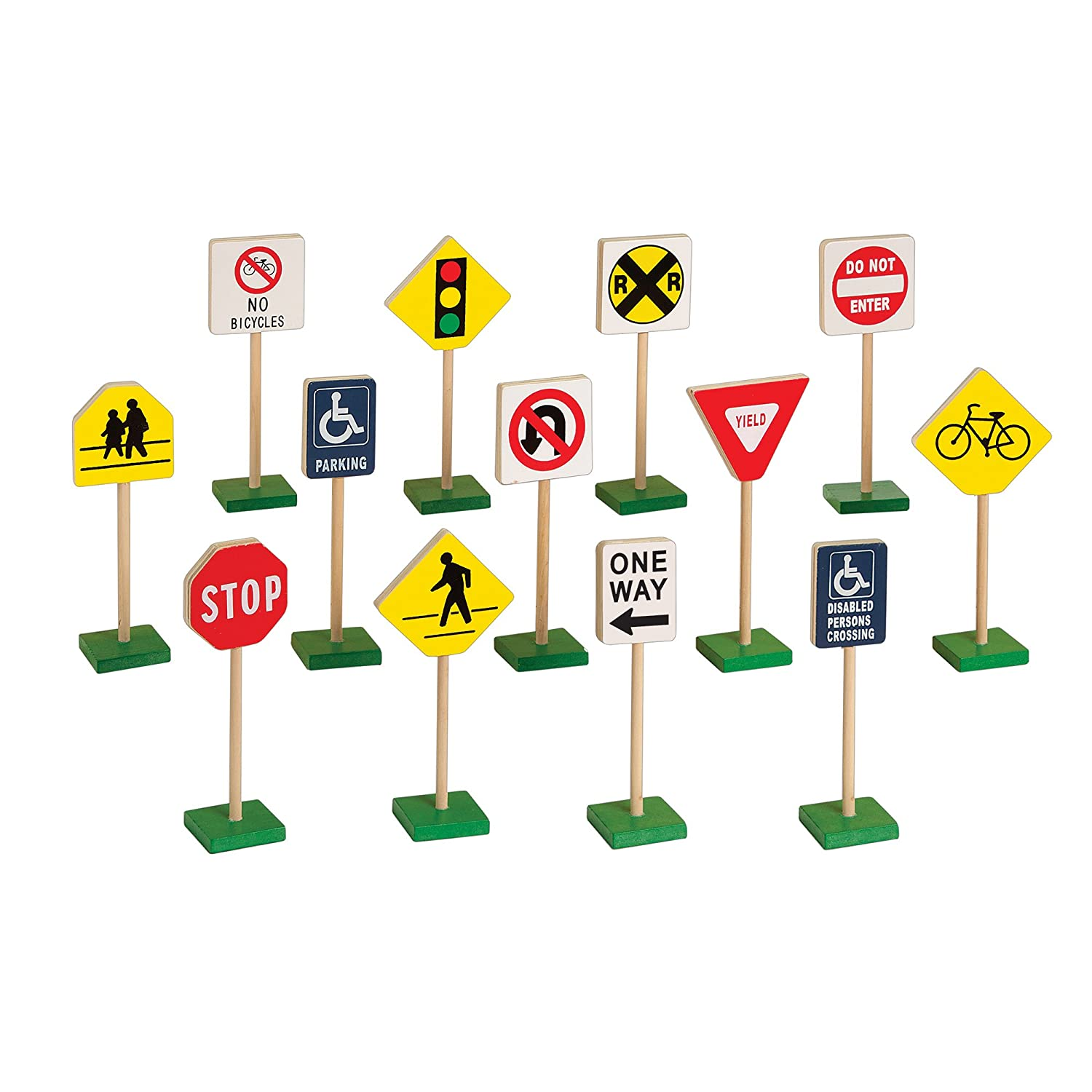 Guidecraft 7 Block Play Traffic Signs Children's Educational Toys for Traffic Knowledge Learning Kids Block Play